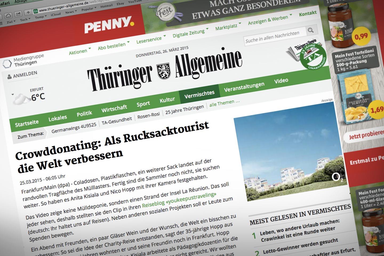Youkeepustraveling in der Thueringer Allgemeine Zeitung