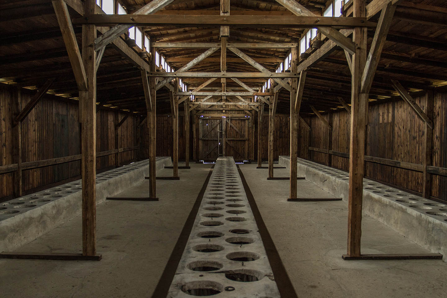 Washing room and toilets at Birkenau concentration Camp barracks / Waschräume Toiletten