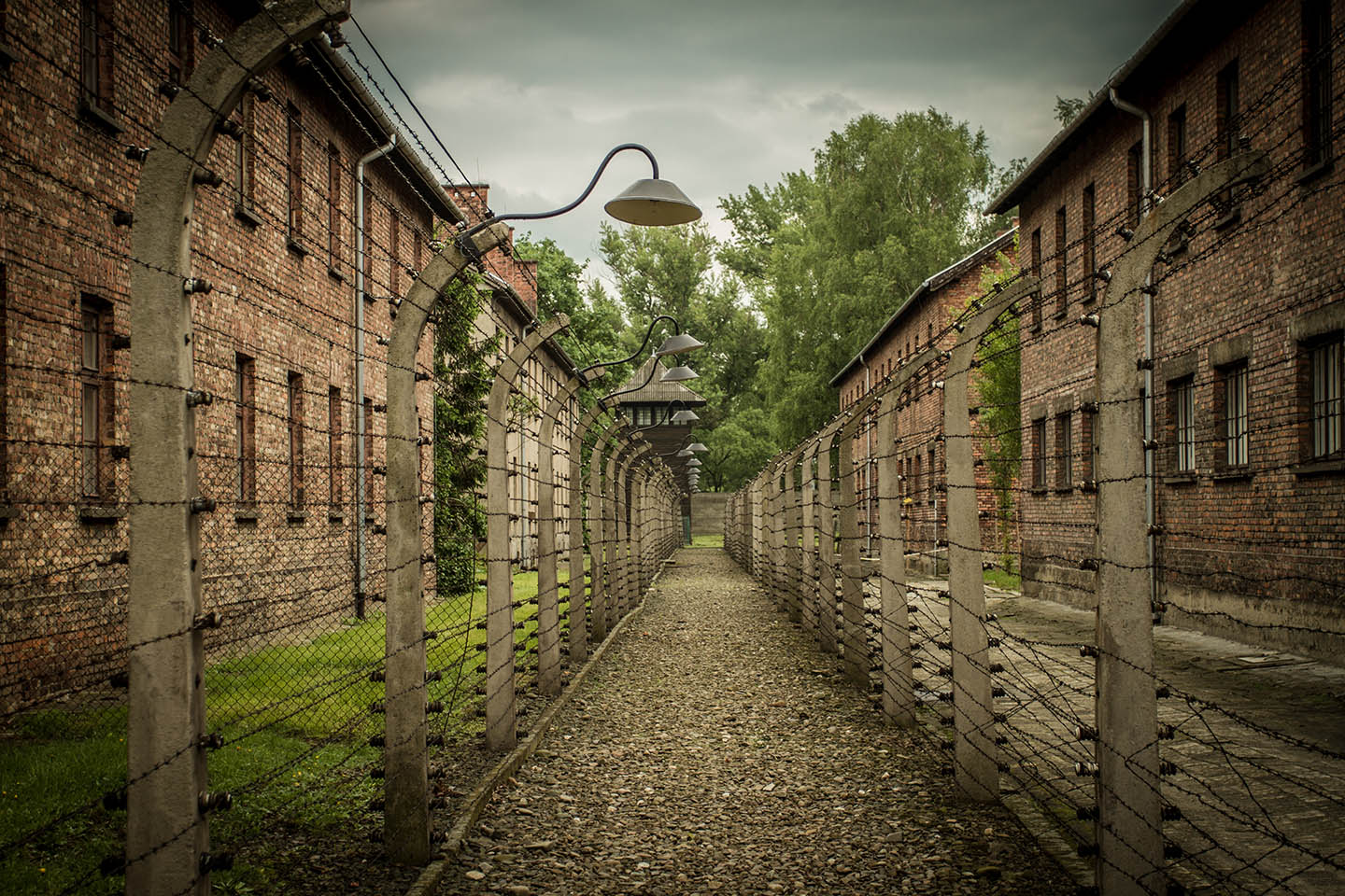 Auschwitz concentration Camp barracks death zone/ Konzentrationslager Denkmal Baracke Todeszone