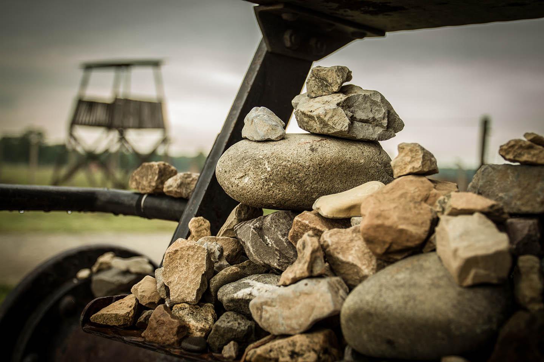 Birkenau concentration Camp train wagon stone jews memorial / Konzentrationslager Waggon Steine Juden Denkmal