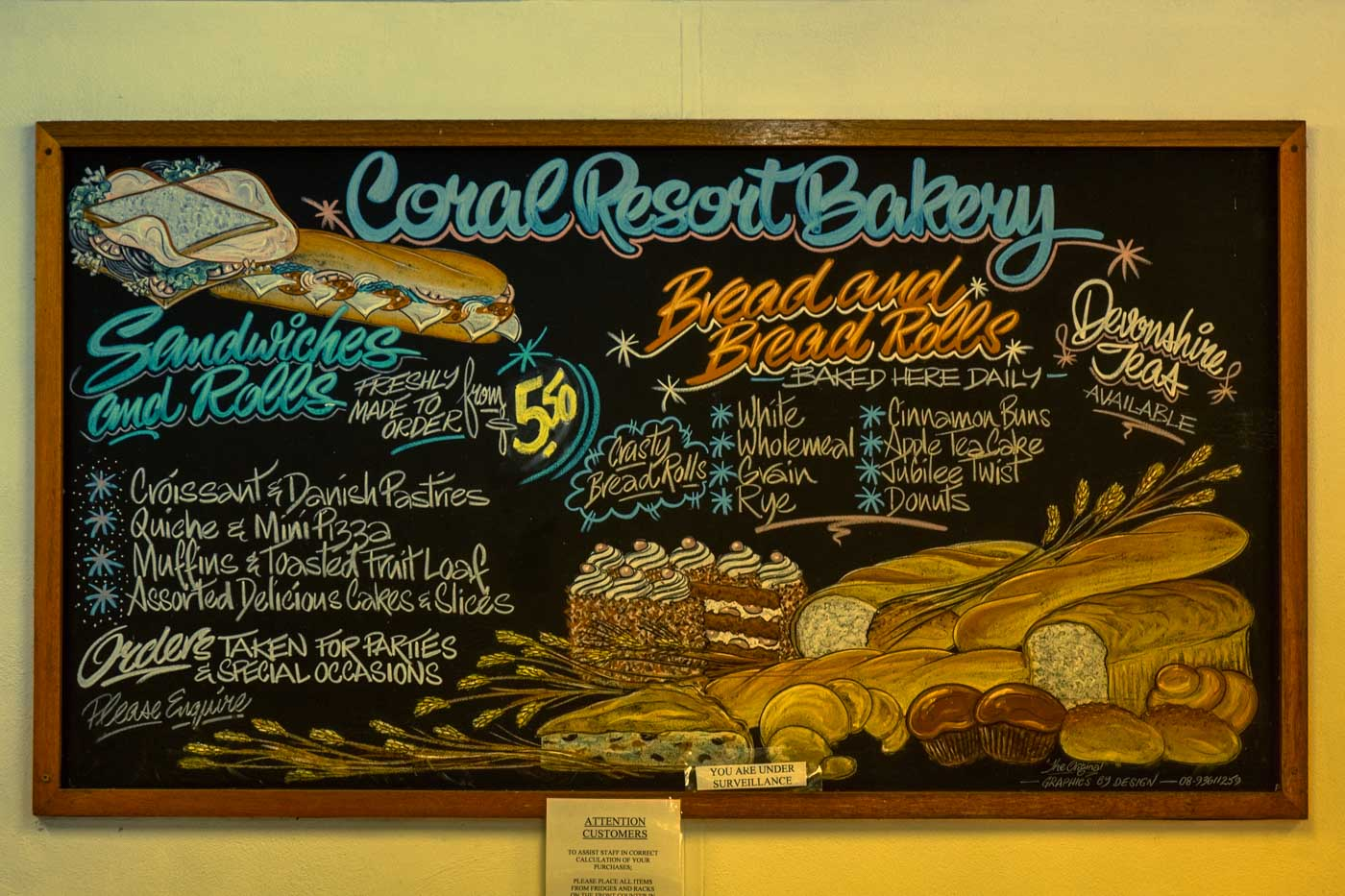 Bread Rolls Order Menu of Coral Bay Resort Bakery Western Australia