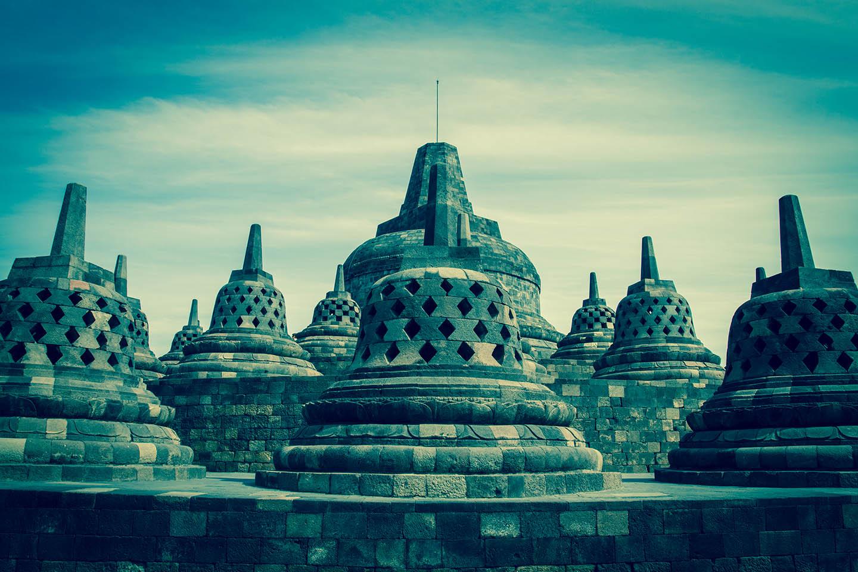 Tempel Borobudur Java Indonesia Stupa Stupas Buddha / Tempelanlage Indonesien