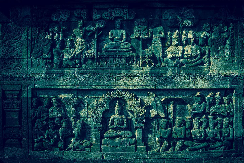 Tempel Borobudur Java Indonesia Relief Buddha Buddhismus/ Tempelanlage Indonesien