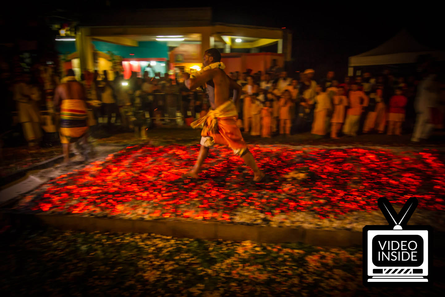 Tamil priest firewalking at Marche sur le feu firewalk La Reunion