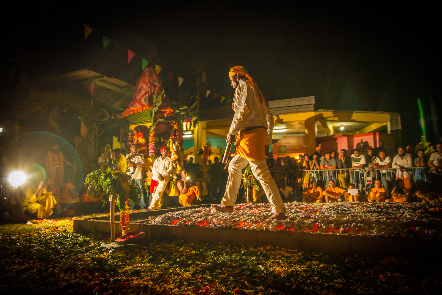 Old tradition fire walker at Marche sur le feu firewalk La Reunion