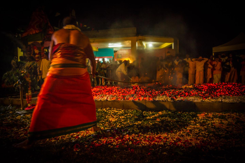 Hot fire coals at Marche sur le feu firewalk La Reunion