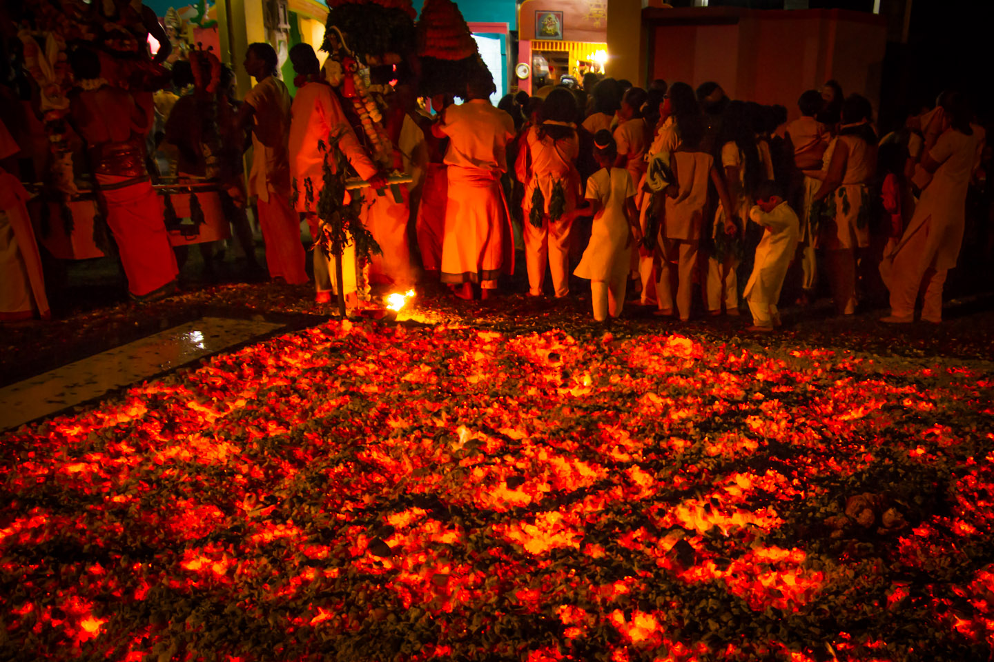 Hindu temple with glowing fire coals at Marche sur le feu firewalk La Reunion