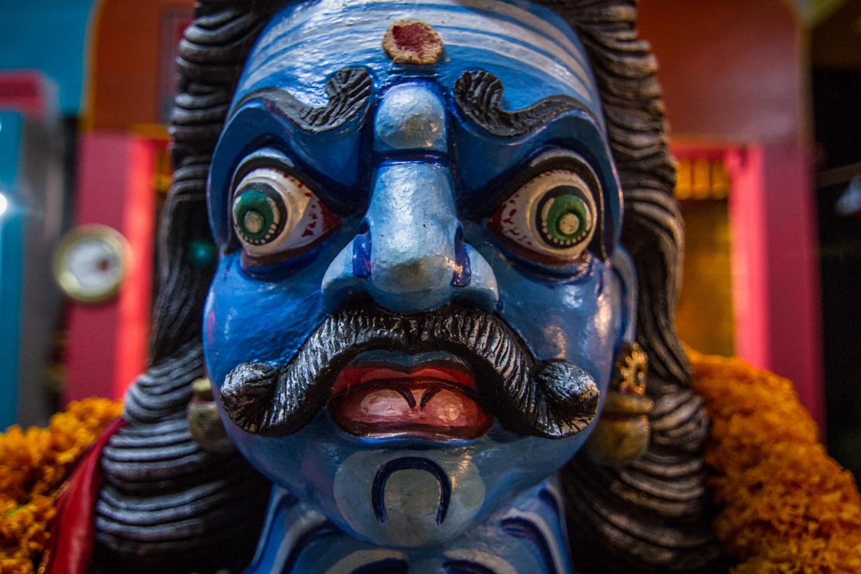 Hindu Tamil god statue at Marche sur le feu firewalk La Reunion