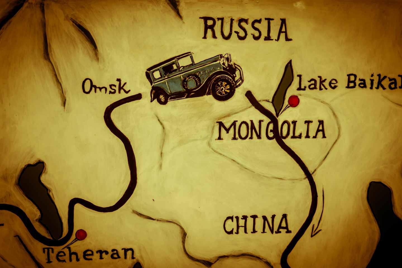Heidi Hetzer is driving around the world map