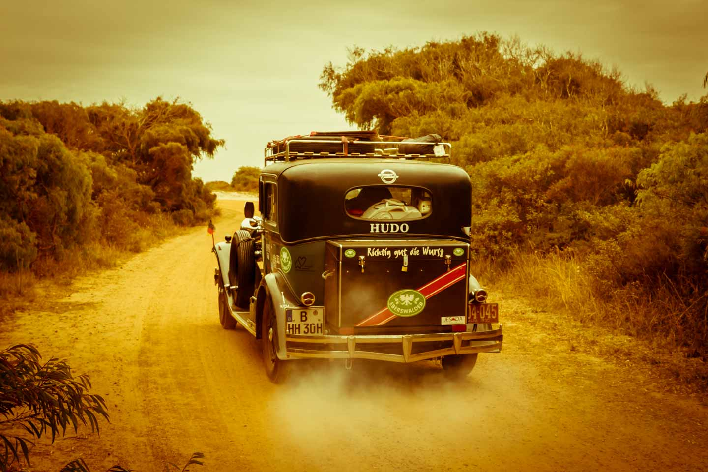 Heidi Hetzer and her Hudson Greater Eight driving around the world