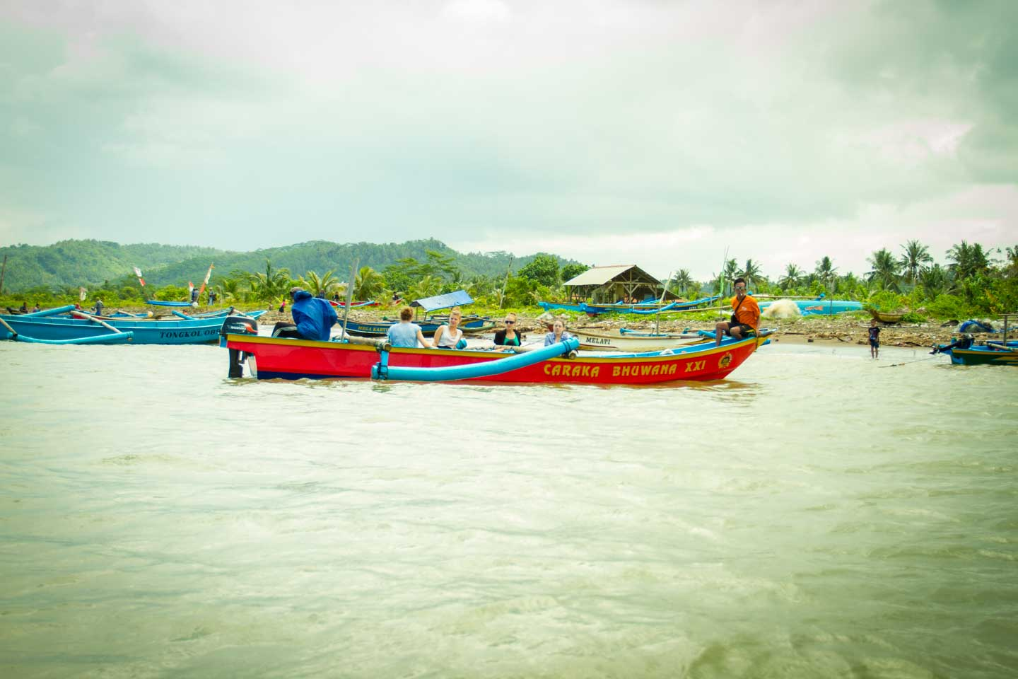 Traditional wooden fishermen boat at Nusa Kambangan Java Indonesia