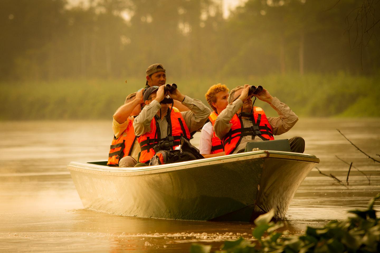 Tourist with binoculars looking at an Orang Utan Kinabatangan River Cruise Sabah Borneo Malaysia YKUT Youkeepustraveling