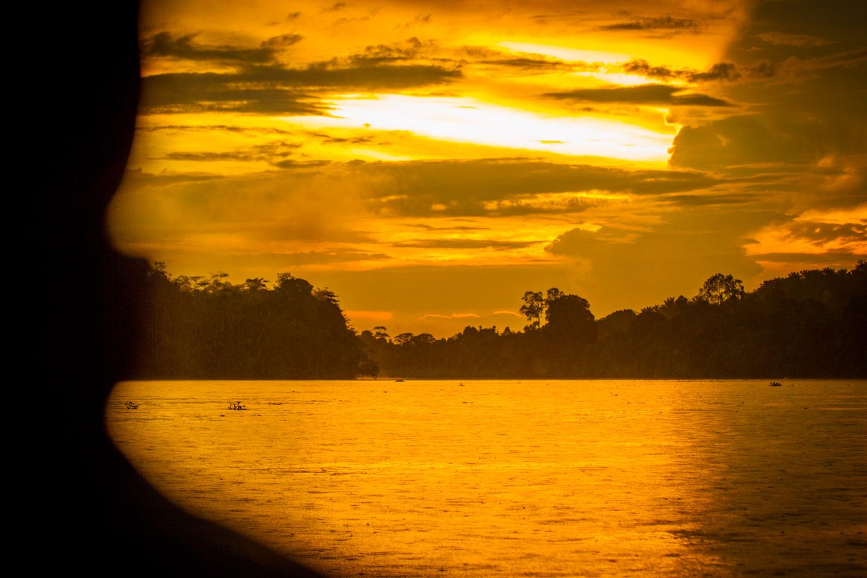 Sunset sunrise at Kinabatangan River Sabah Borneo Malaysia