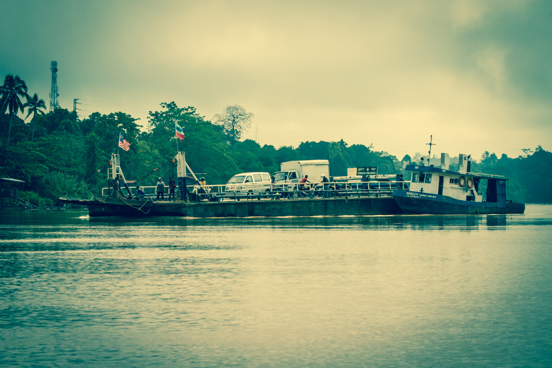Ferry boat over the Kinabatangan River Sabah Borneo Malaysia