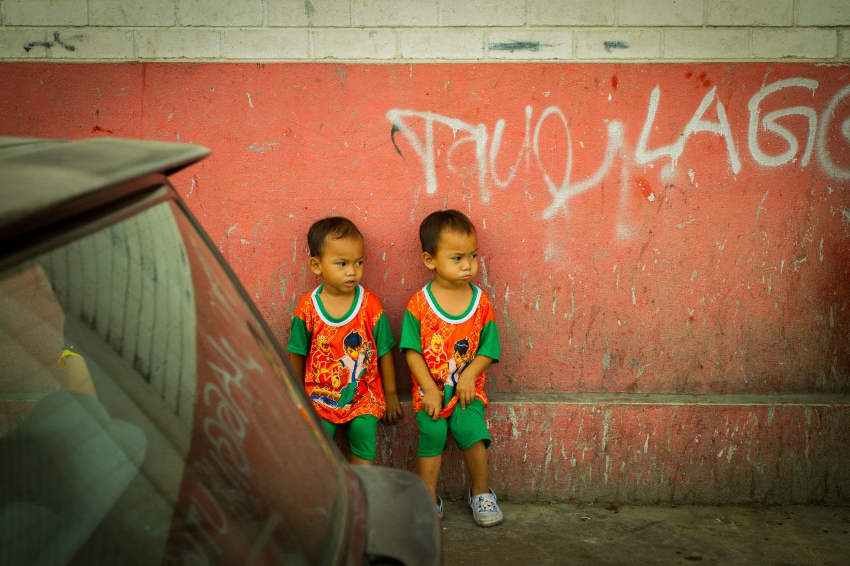 Filipino  Philippines twins in Lahad Datu, Borneo, Sabah, Malaysia