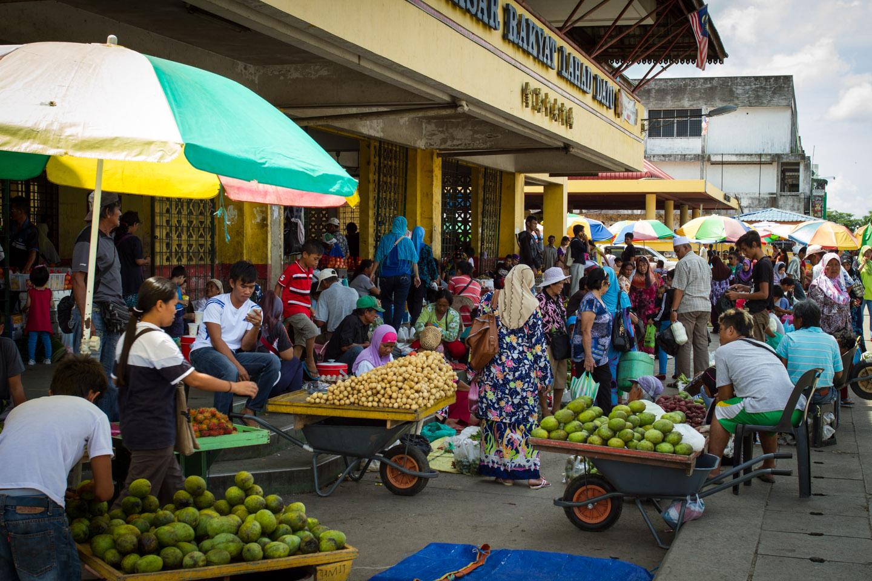 Local fish and fruit market in Lahad Datu, Borneo, Sabah, Malaysia