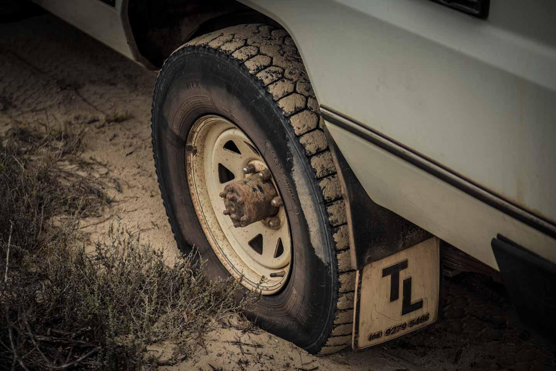 youkeepustraveling having a flat tyre at 4WD track into Cactus Beach Ceduna South Australia