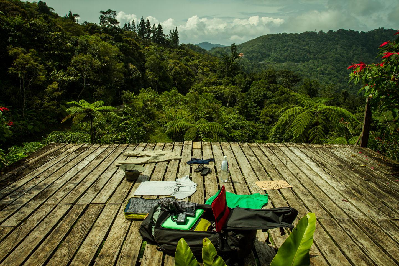 Gear and backpack Mount Kinabalu Sabah Borneo Malaysia