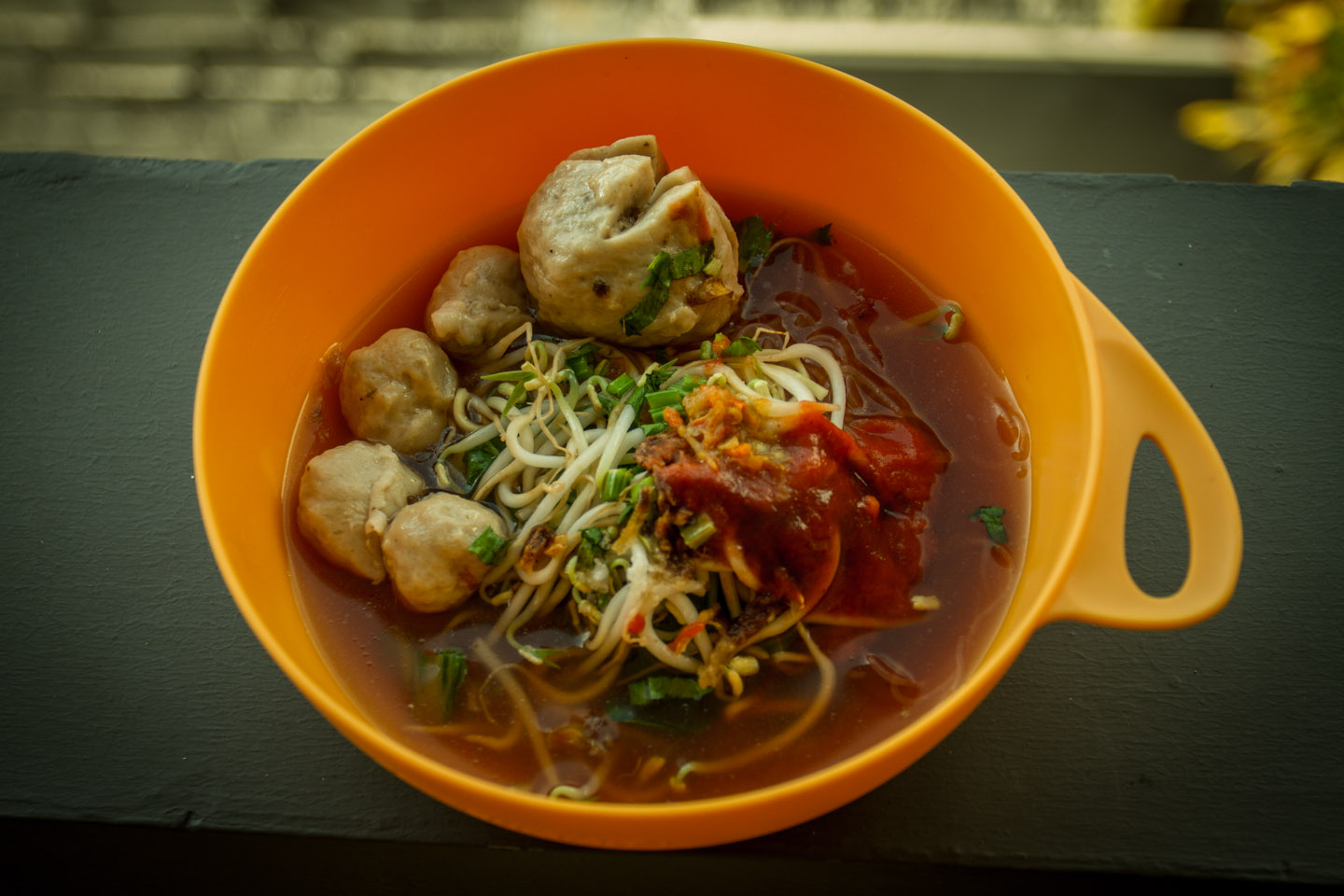 Mie Bakso traditional meatball soup during Ramadan Idul Fitri