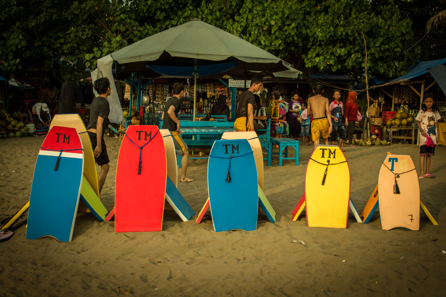 Bodyboards lined up during Ramadan Idul Fitri at Pangandaran surfing beach Java Indonesia Indonesien