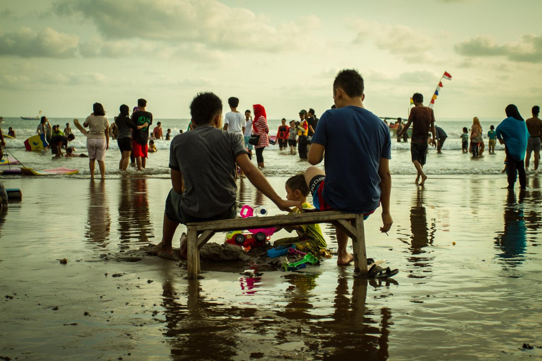 Family Beach Party during Ramadan Idul Fitri at Pangandaran Java Indonesia Indonesien
