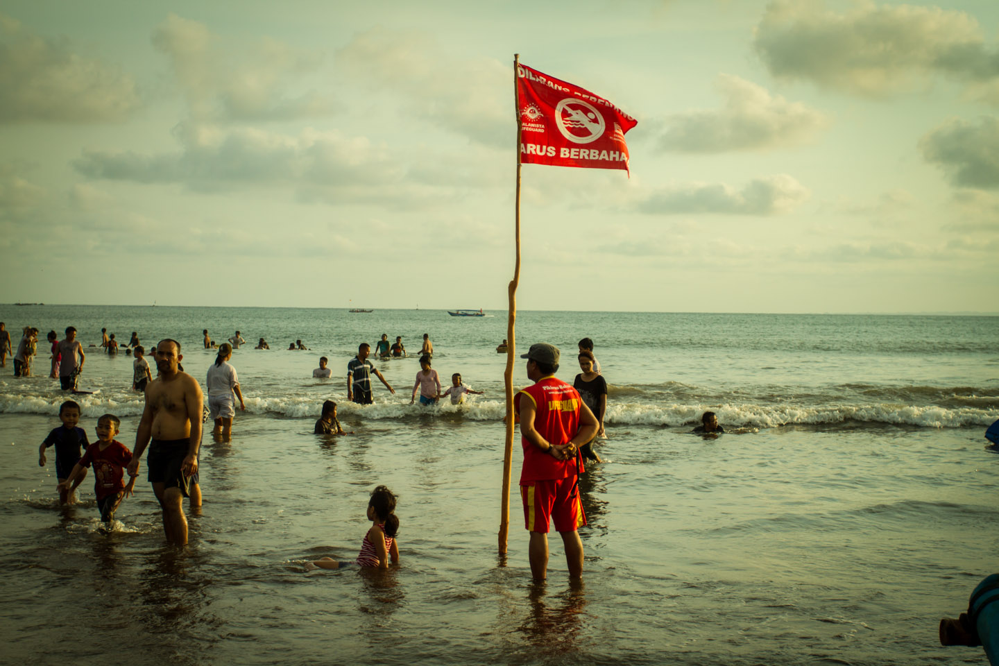 Lifeguard for swimming nonswimmer at Pangandaran beach Java Indonesia Indonesien