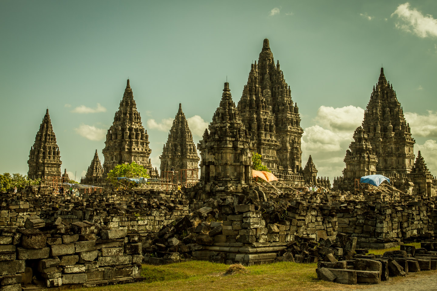 The construction site of Prambanan UNESCO Hindu Temple Java