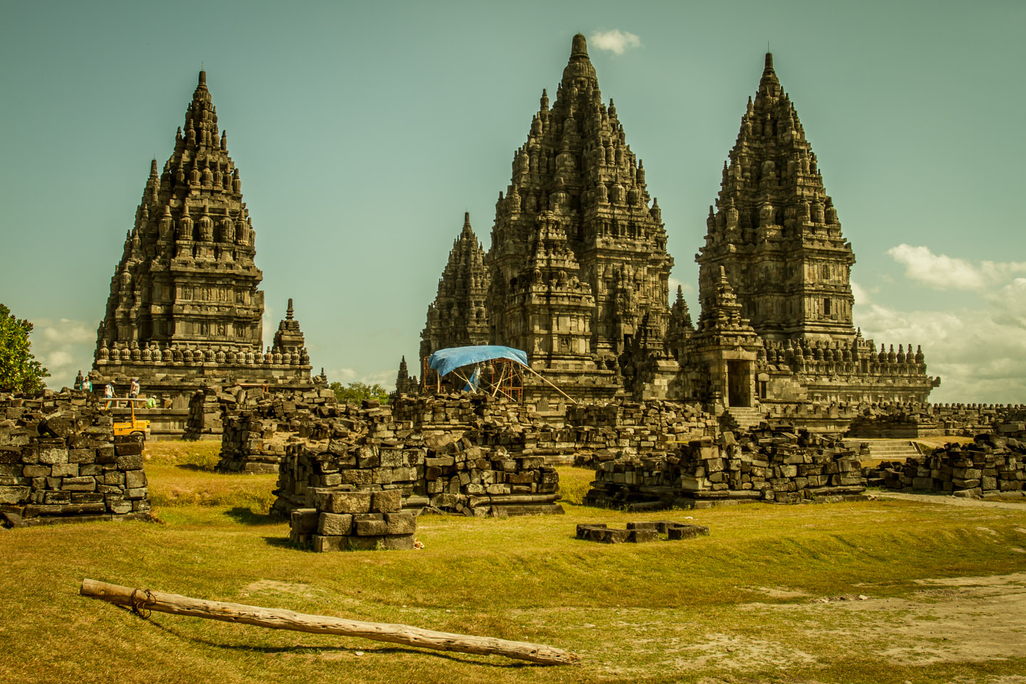 Prambanan Hindu Temple Java under construction since 1918