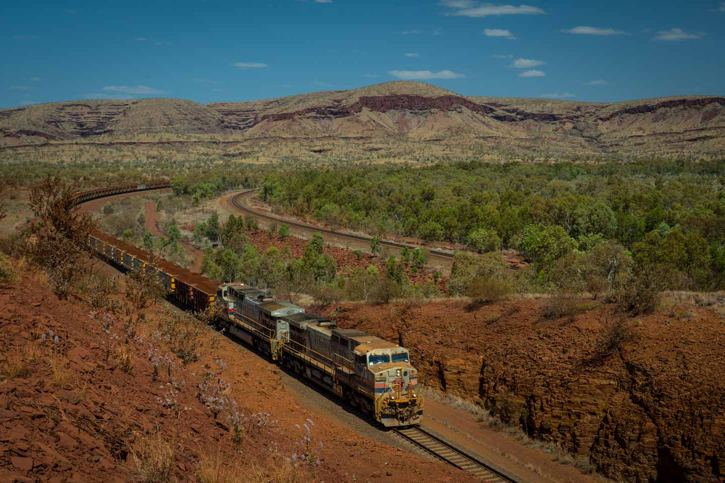 Rio Tinto Train Railway Rail Access Road from Karratha Dampier to Tom Price through the Pilbara region