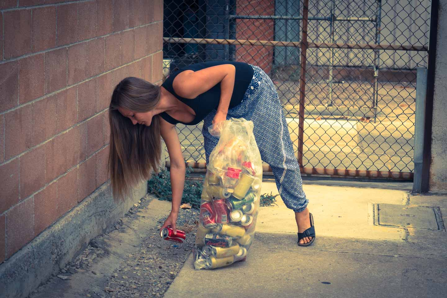 Anita Kisiala collecting Recycling cans in South Australia