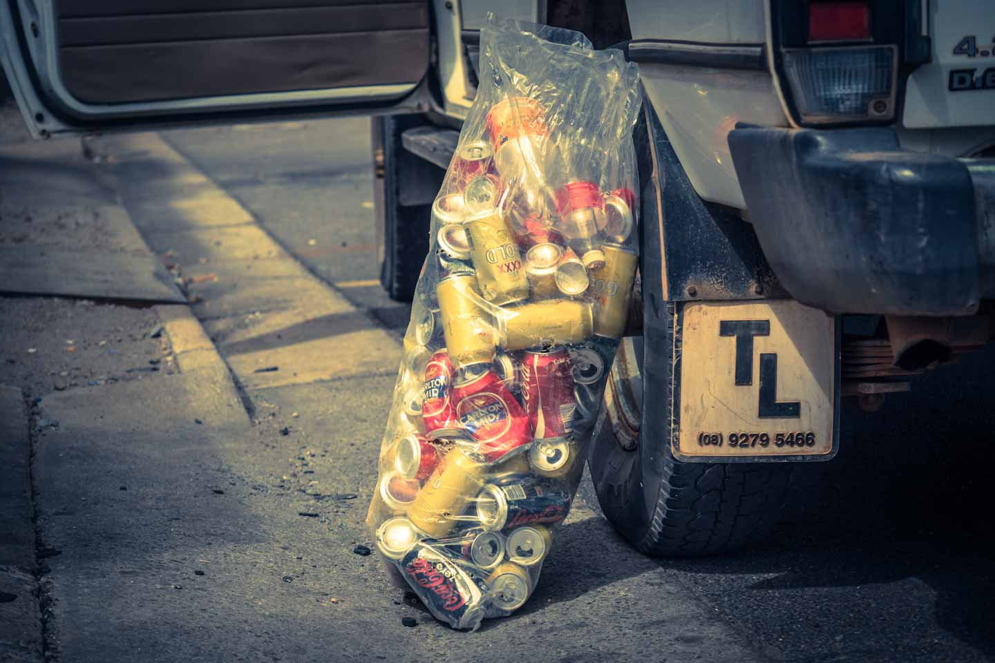 Bag of Recycling cans in South Australia collected by YouKeepUsTraveling