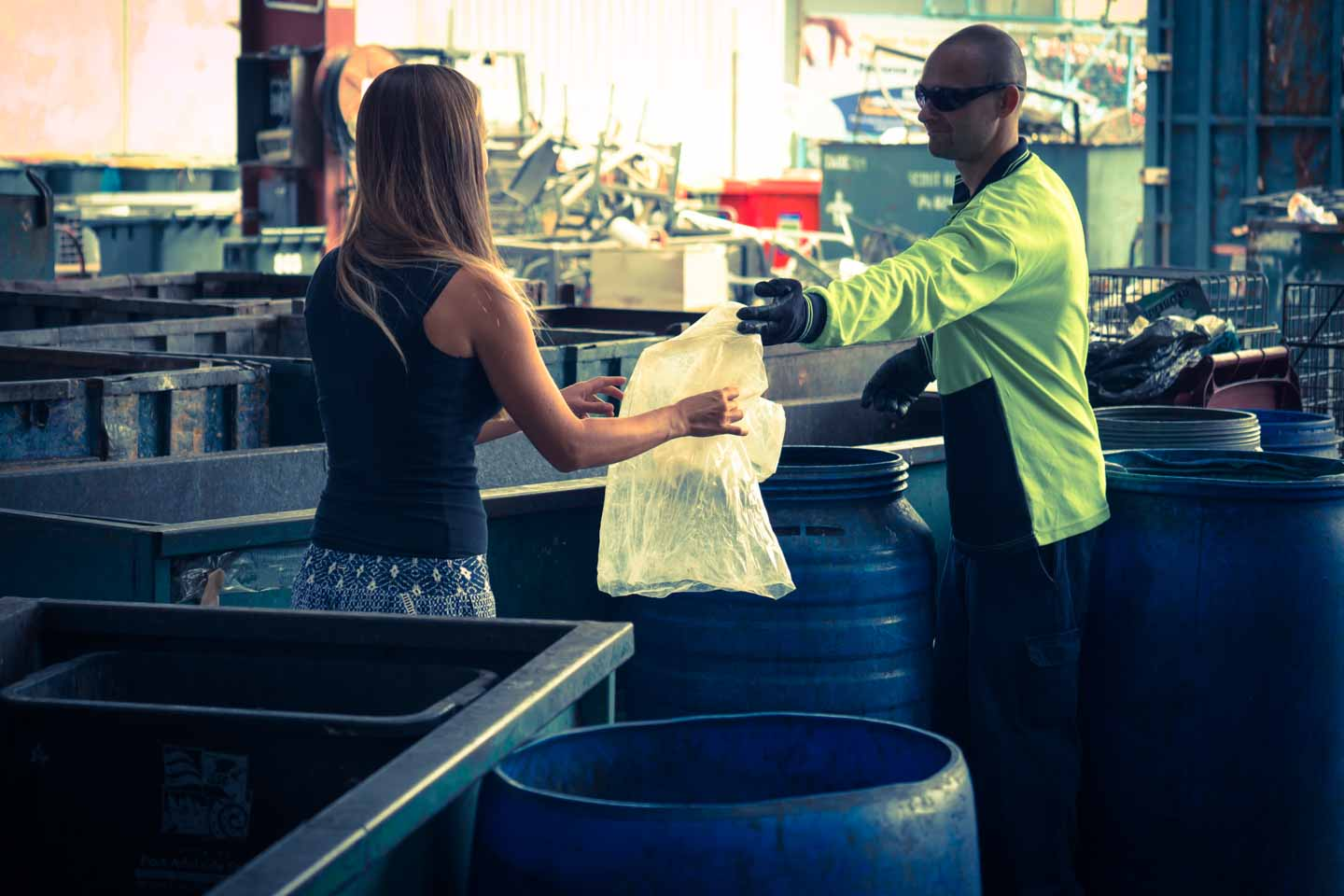 Anita Kisiala at a recycling station in Australia waste management