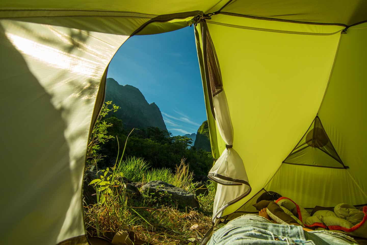 Waking up in a MSR Hubba Hubba HP tent on a hike in La Réunion Island close to Madagascar