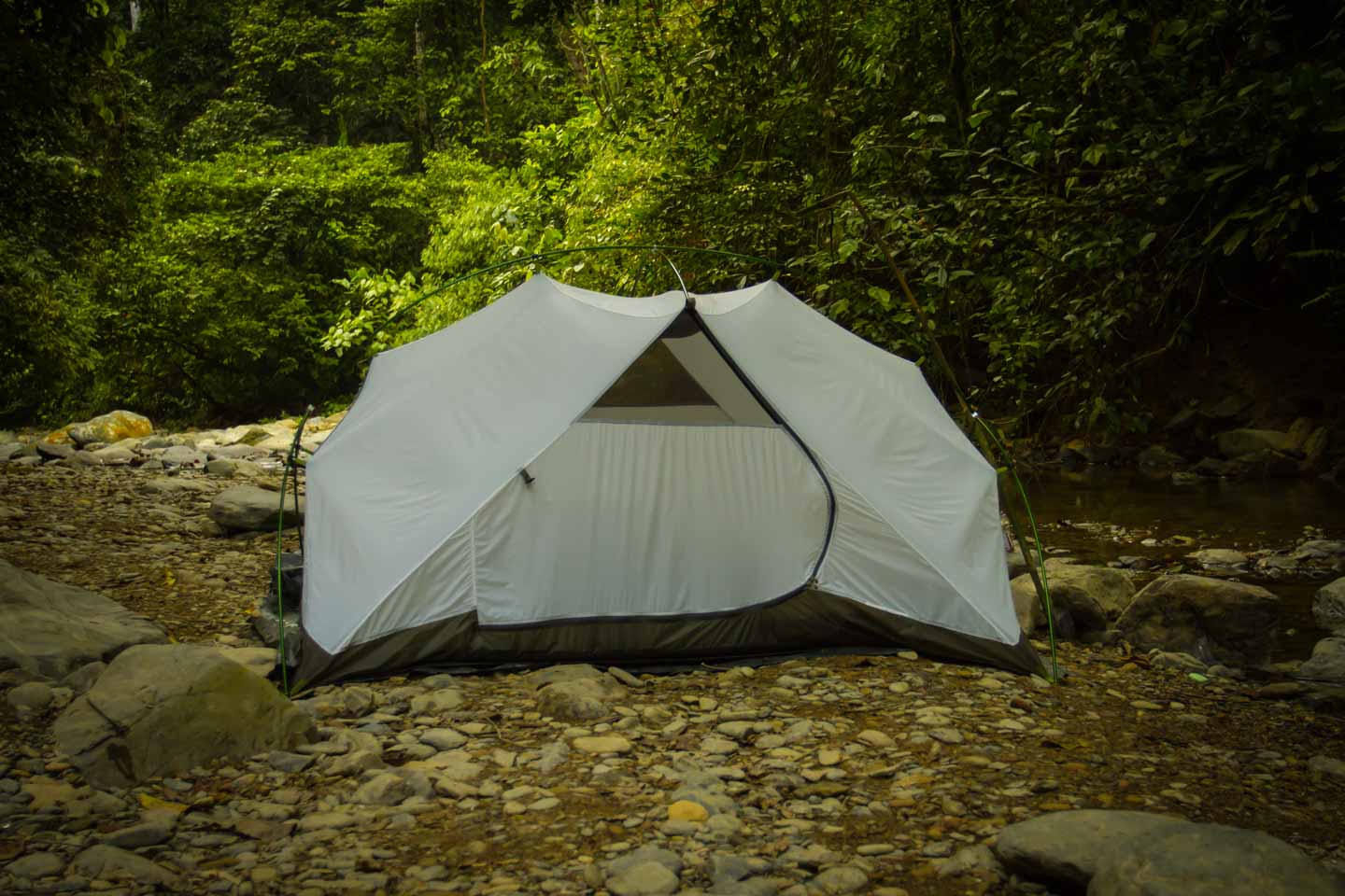 Wild camping on a jungle track in the Sumatra rainforest